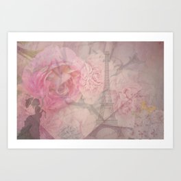Parisian Romantic Collage Art Print