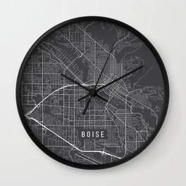 Boise Map, USA - Gray Wall Clock
