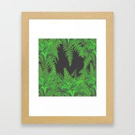 DECORATIVE CHARCOAL GREY GREEN FERNS GARDEN ART Framed Art Print