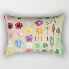 Colorful Floral Pattern Rectangular Pillow