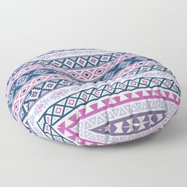 Aztec Stylized Pattern Blues Pinks Purples White Floor Pillow