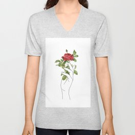 Flower in the Hand Unisex V-Neck