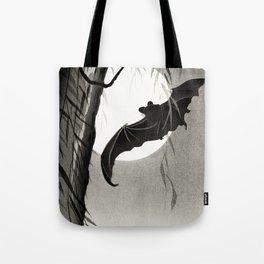 Bat flying under the full Moon - Japanese vintage woodblock print art Tote Bag