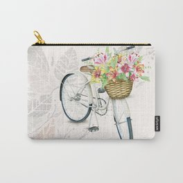 White Vintage Bicycle Lilly Basket on Autumn Background Carry-All Pouch