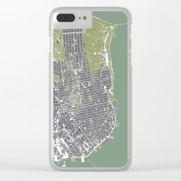 San Francisco city map engraving Clear iPhone Case