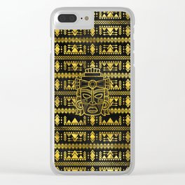 Gold  Aztec Inca Mayan Mask Clear iPhone Case
