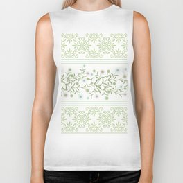 Delicate floral pattern with decorative bands. Biker Tank