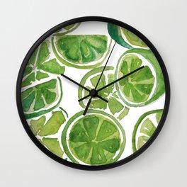 Watercolor LIMES Wall Clock