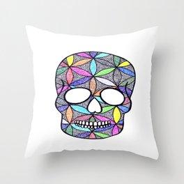 flower of life skull Throw Pillow