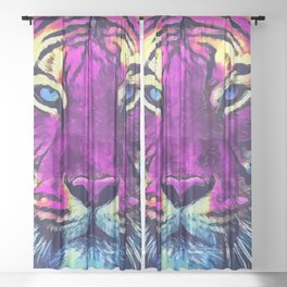 tiger purple spirit #tiger Sheer Curtain
