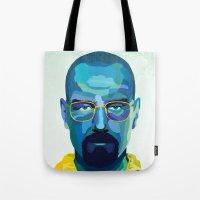 heisenberg Tote Bags featuring Heisenberg by Ned & Ems
