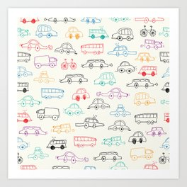 Hand drawn vehicles doodle pattern Art Print