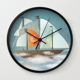 Sailing on clouds Wall Clock