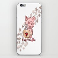 piglet iPhone & iPod Skins featuring Piglet Loves Coffee by DMiller