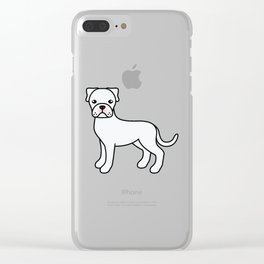 Cute White Boxer Dog Cartoon Illustration Clear iPhone Case