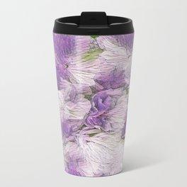 Purple - Lavender Fluffy Floral Abstract Travel Mug