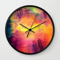 tie dye Wall Clocks featuring Tie Dye by Sarah Maybin
