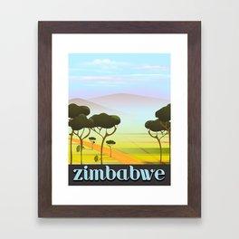 Zimbabwe landscape travel poster Framed Art Print