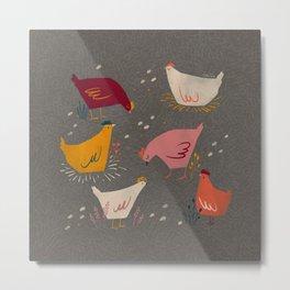 Colorful hen pattern Metal Print