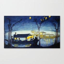 Wasen at Night - Vintage Japanese Art Canvas Print