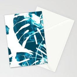 Monstera Leaf Blue Stationery Cards