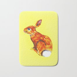 Rabbit on yellow Bath Mat