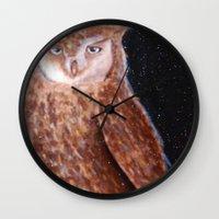 night sky Wall Clocks featuring Night Sky by Denise Fou
