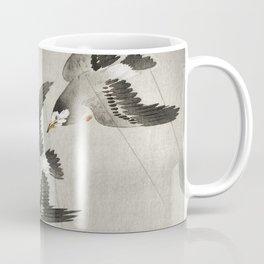 Starlings flying in the rain - Vintage Japanese Woodblock Print Art Coffee Mug