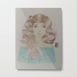Girl with Chubby Kitten Metal Print