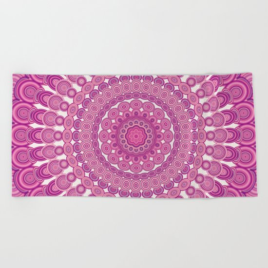 Pink oval mandala Beach Towel