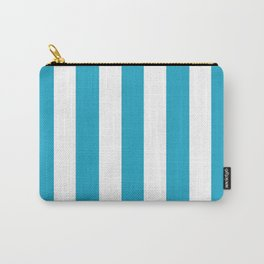 Pacific blue - solid color - white vertical lines pattern Carry-All Pouch