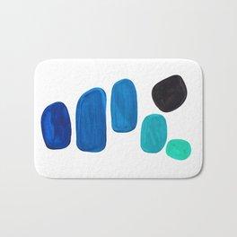 Colorful Mid Century Modern Pop Art Minimalist Style Teal Blue Aquamarine Bubbles White Background Bath Mat
