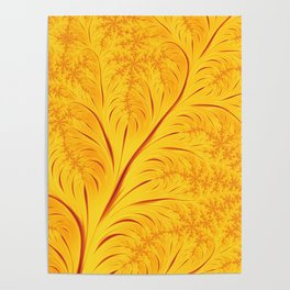 Fall Leaves Abstract Autumn Yellow Orange Gold Leaf Pattern Poster