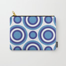 Circle Circle:  Turquoise, White + Navy Carry-All Pouch