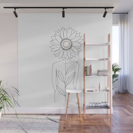 Minimalistic Line Art of Woman with Sunflower Wall Mural