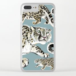 Snow leopard in blue Clear iPhone Case
