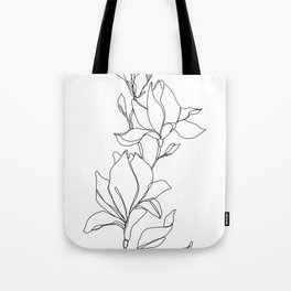 Botanical illustration line drawing - Magnolia Tote Bag