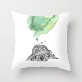 Dreaming Puppy - Green Watercolor Throw Pillow