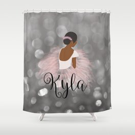 African American Ballerina Dancer Personalized Name KYLA Shower Curtain
