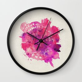 Rome, Italy Colorful Skyround / Skyline Watercolor Painting Wall Clock