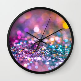 Pink and Teal Glitter Art Wall Clock