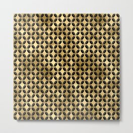 4 Leaf Quatrefoils in Black and Gold Vintage Faux Foil Art Deco Vintage Foil Pattern Metal Print