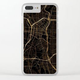 Black and gold San Antonio map Clear iPhone Case