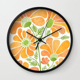Happy California Poppies / hand drawn flowers Wall Clock