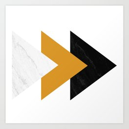 Forward marble yellow arrows Art Print