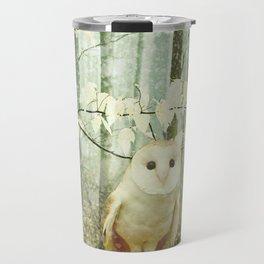 Barn Owl in Snowy Winter Woodland Travel Mug