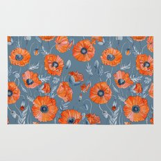 Red poppies in grey Rug