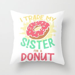 Donut sister brother and sister love Throw Pillow