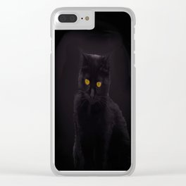 Black Cat On A Black Background #decor #buyart #society6 Clear iPhone Case