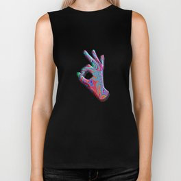 Psychedelic Trippy Okay Hand Sign Rave Tshirt Watercolor Sublimation Biker Tank